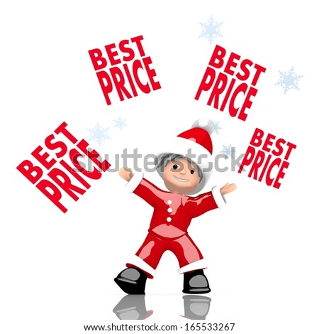 a childish Santa Claus boy rendered character juggles four best price sign isolated on white background with snowflakes