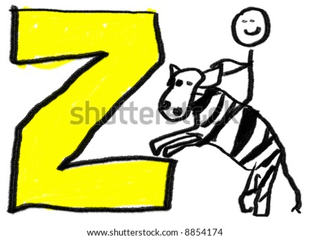 A childlike drawing of the letter Z, with a stick man riding a zebra