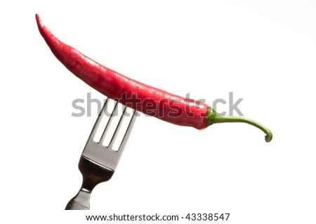 A chili fruit on a fork - stock photo