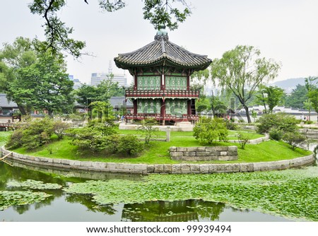 A chinese style pagoda in a buddhist garden in Seoul, Korea - stock photo