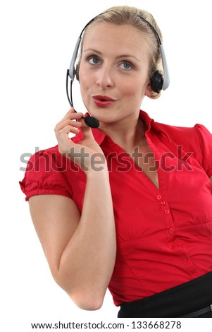 A chirpy receptionist - stock photo