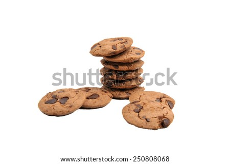 A chocolate cookie isolated on a white background.