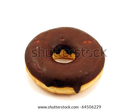 A chocolate doughnut, isolated on a white background