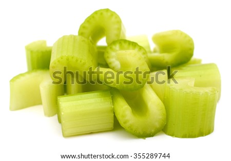 A chopped celery food, isolated white