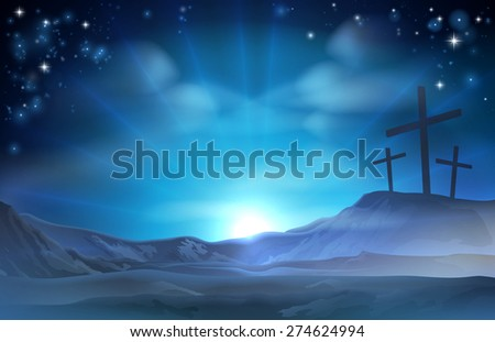 A Christian Easter illustration of three crosses on a hill - stock photo