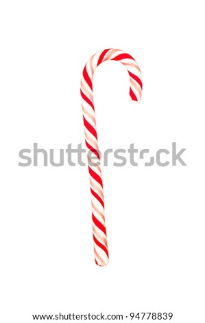 A Christmas candy cane isolated on a white background - stock photo