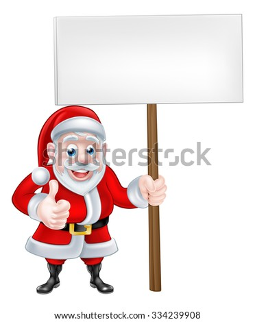 A Christmas cartoon illustration of Santa Claus holding a sign and giving a thumbs up - stock photo