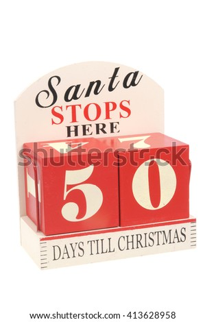 A christmas countdown ornament isolated on a white background 50 Days to Christmas - stock photo