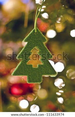 a christmas decoration made of felt - stock photo