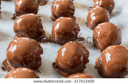 A Christmas favorite, homemade peanut butter chocolate balls. A mixture of peanut butter, nuts, sugar and other sweet stuff and then dipped in milk chocolate. - stock photo