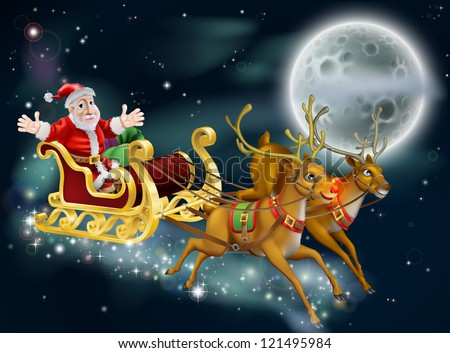 A Christmas illustration of Santa and sled delivering gifts on Christmas Eve with the moon in the background - stock photo