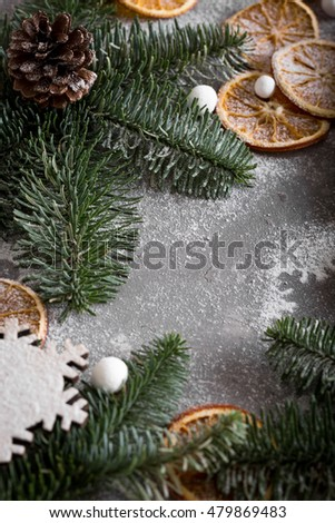 A Christmas tale. The frame of the trees.Themes Christmas decorations, fir cones, snow and festive mood