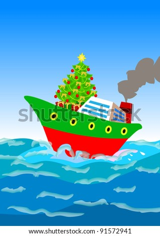 a Christmas tree and gifts shipping away by a cruise ship