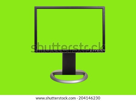 A chroma key green screen computor monitor, front view, with easy to remove background and copy space for your use. Isolated on green. - stock photo