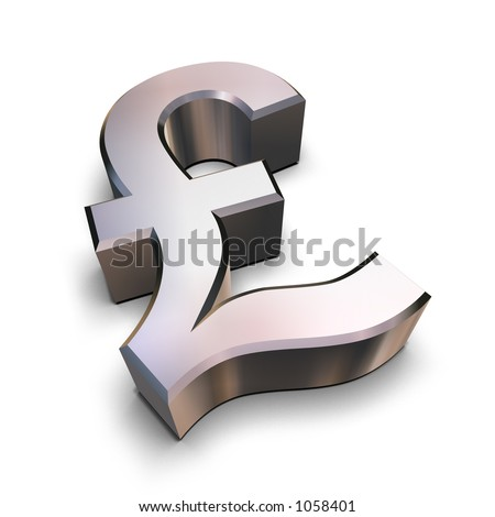 A chrome-plated Sterling Pound symbol isolated on a white background (3D rendering) - stock photo
