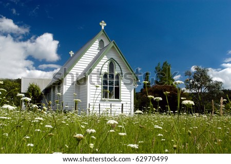 A Church in a field in New Zealand - stock photo