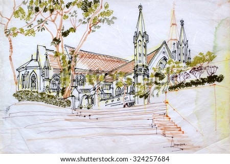 A church in Singapore, Asia. Artistic hand drawn travel sketch on paper. Architectural drawing. British colonial architecture - stock photo