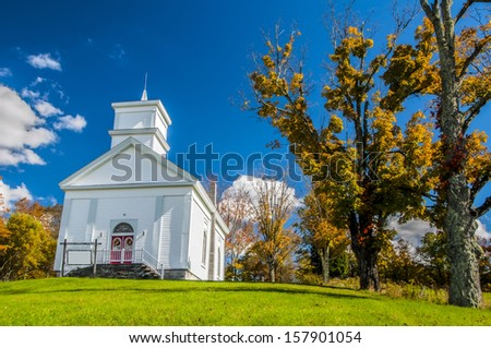 A church in upstate New York in autumn - stock photo