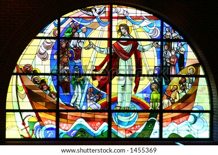 A church's stained glass window - stock photo