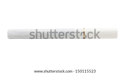 A cigarette with filter white color isolated on white background