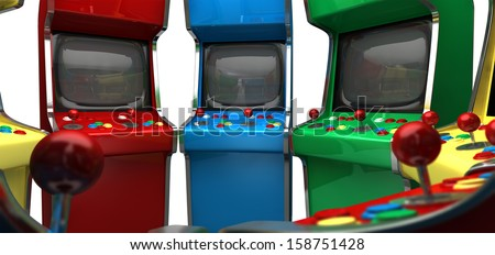 A circle of vintage unbranded arcade games with joysticks and various colored buttons and a blank screen on an isolated white background - stock photo