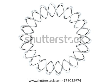 A circular shaped coil of razor wire on an isolated white background - stock photo