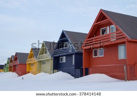 A city details of Longyearbyen - the most Northern settlement in the world. Spitsbergen (Svalbard), Norway. - stock photo