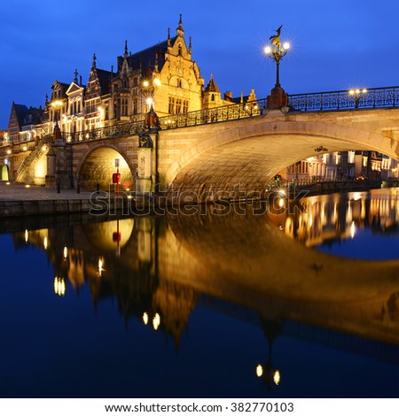 A city scape of Gent at night, Belgium.