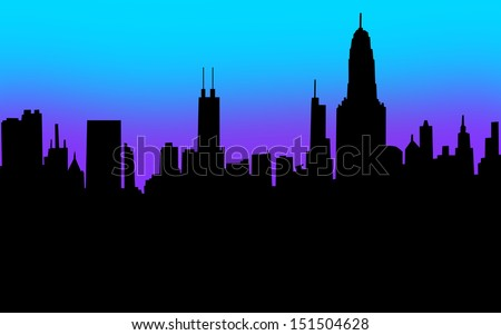 A city skyline in silhouette with black blank copyspace for your message