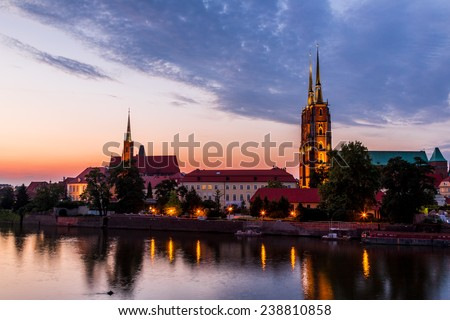 A cityscape cathedral, river Odra. Wroclaw, Poland, at dusk
