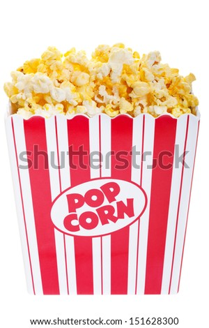 A classic box of popcorn on a white background. - stock photo