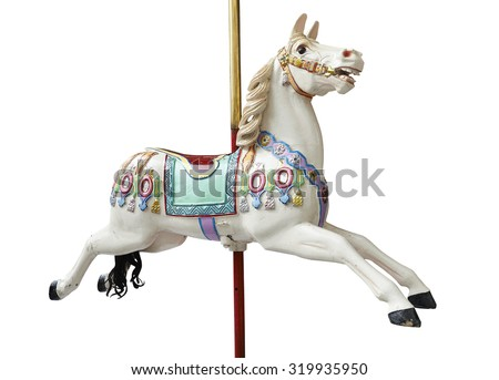 A classic carousel horse on white. Clipping path included. - stock photo