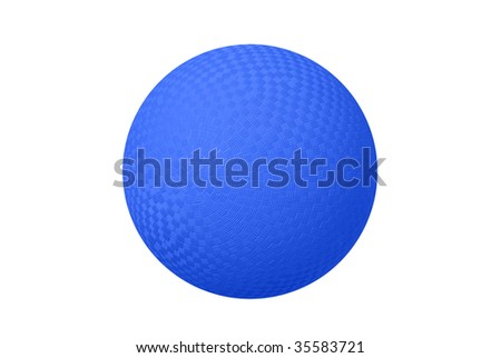 A classic dodge ball isolated on white shows the crosshatch patterns used for grips. - stock photo