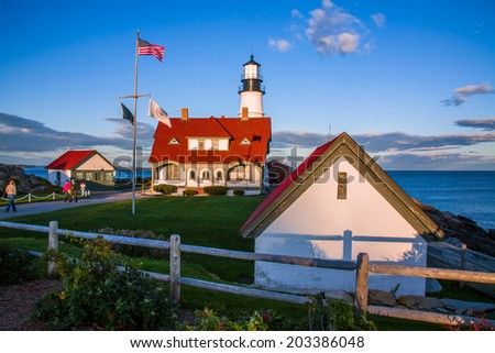 A Classic New England Lighthouse, The Portland Head Light In Late Afternoon On A Beautiful Autumn Day, Portland Maine, USA - stock photo