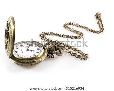 A classic pocket watch (Vintage pocket watch clock with open lid and chain isolated on a white background)  - stock photo
