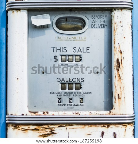 A classic retro gas station pump - stock photo
