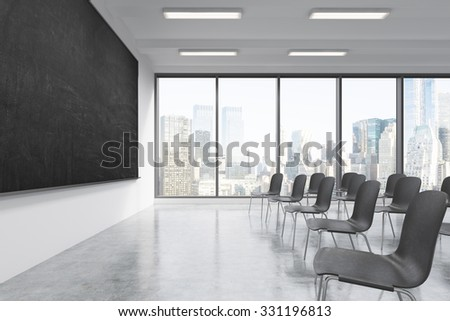 A classroom or presentation room in a modern university or fancy office. Black chairs, a black chalkboard on the wall and panoramic windows with New York view. 3D rendering.
