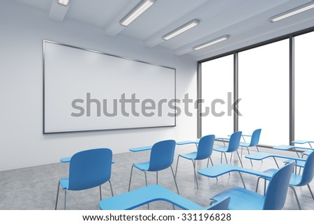 A classroom or presentation room in a modern university or fancy office. Blue chairs, a whiteboard on the wall and panoramic windows with white copy space. 3D rendering. - stock photo