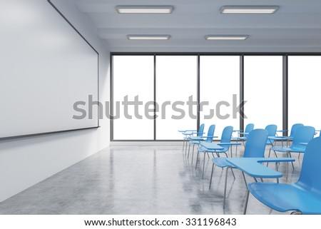 A classroom or presentation room in a modern university or fancy office. Blue chairs, a whiteboard on the wall and panoramic windows with white copy space. 3D rendering.