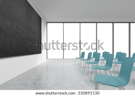 A classroom or presentation room in a modern university or fancy office. Blue chairs, panoramic windows with white copy space and a black chalkboard on the wall. 3D rendering.