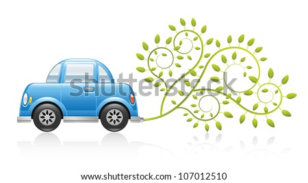 A clean and glossy illustration depicting an eco-friendly car concept. Raster. - stock photo