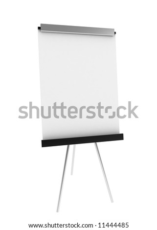 A clean 3d whiteboard, over white, isolated