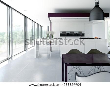 a clean modern kitchen interior. design concept. 3d rendering - stock photo