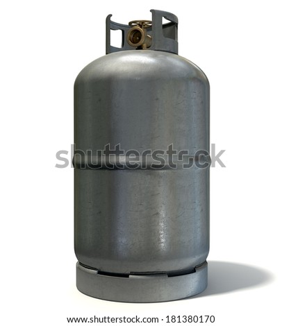 A clean unbranded metal gas cylinder with a bronze valve on an isolated white background - stock photo