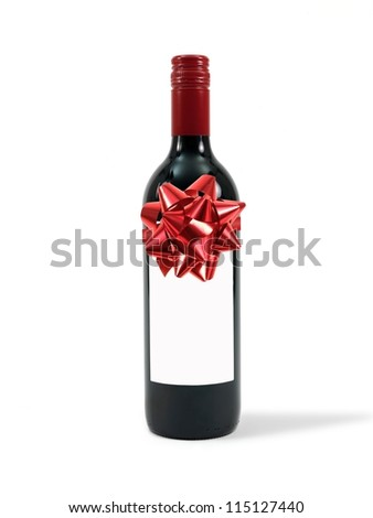 A cleanskin red wine bottle isolated against a white background - stock photo