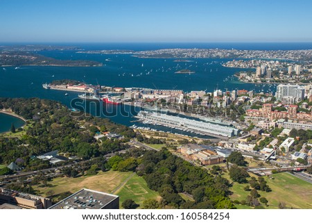 A clear sunny day in Sydney, looking east towards the harbour and ocean. - stock photo