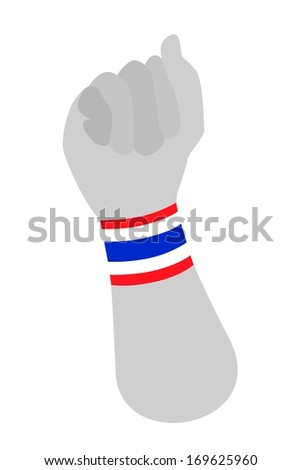 A Clenched Fist Raised Up in The Air with Red, White and Blue Stripe of Thailand Flag Wristband Democracy Symbol for Against Government and Corruption. - stock photo