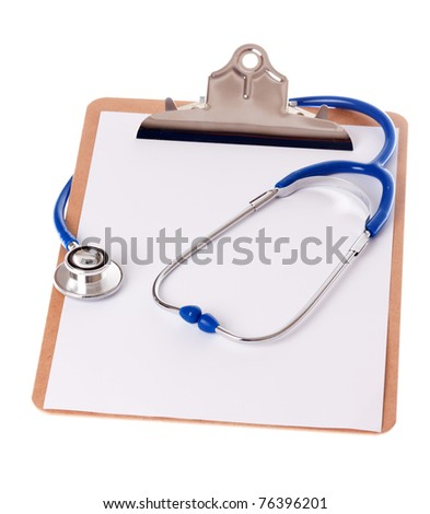 a clipboard with a blue stethoscope on isloated white background