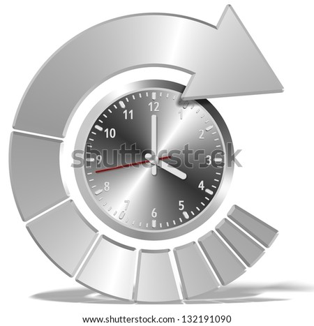A clock and a circular shaped arrow around it / Deadline pressure - stock photo