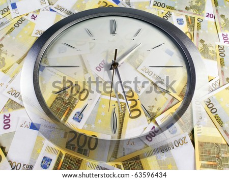 A clock and 200 euro banknotes on a white background - stock photo